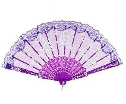 Nroom Hand Held Flower Silk Lace Fabric Hand Fans Perfect Christmas Party Favor Wedding Dancing Party Prom Decor purple