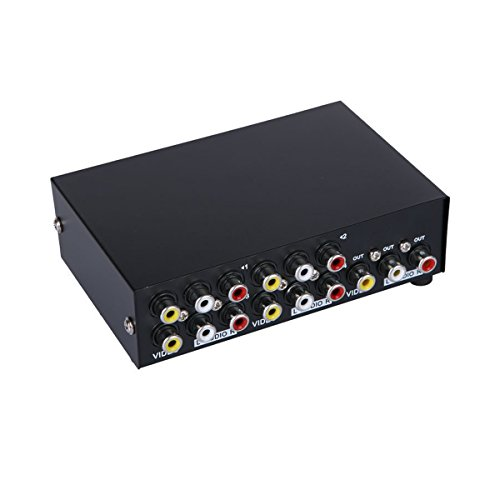 AuviPal 4-Port RCA AV Switcher 4 Input 1 Output Composite Video L/R Audio Selector Box for 4 Media Players DVDs TV Boxes Share 1 TV - Av 4 Input Audio Video