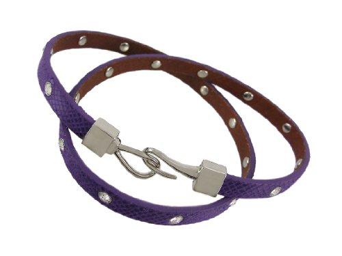 Zeckos Purple Leather Python Triple Wrap Rhinestone Bracelet