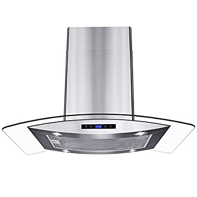 "AKDY New 30"" European Style Island Mount Stainless Steel Glass Range Hood Vented Touch Control Panel"