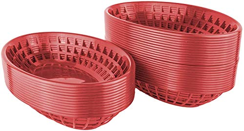 Basket Oval Food (Bear Paw Products - Plastic Food Baskets - Oval Baskets - 36 Pack - Perfect for Fries, Burgers, Sandwiches, and More!)