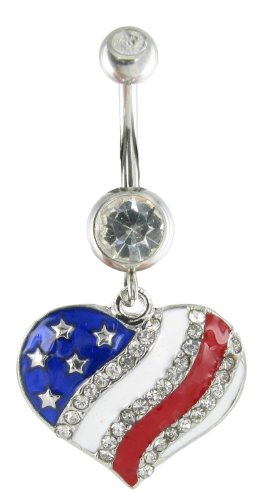American Flag Heart Rhinestone Charm and Navel Belly Ring - Clear Crystal with Red White and Blue Enamel (Belly Button Ring Display compare prices)
