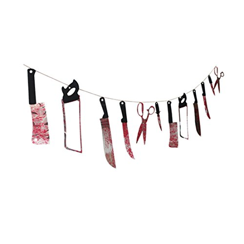 Yuehua Halloween Garland Banner Horror Scary Butcher Knife Chainsaw Weapon Killer Tools Party Decor