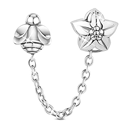 """Top TINYSAND 925 Sterling Silver """"Bee & Flower"""" Safety Chain Charm Bead Guard for Snake Chain European Charm Bracelet ic30esBa"""