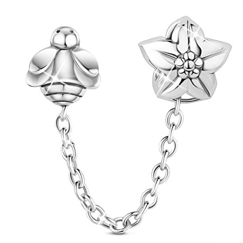 (TINYSAND 925 Sterling Silver Bee & Flower Safety Chain Charm Bead Guard for Snake Chain European Charm Bracelet)