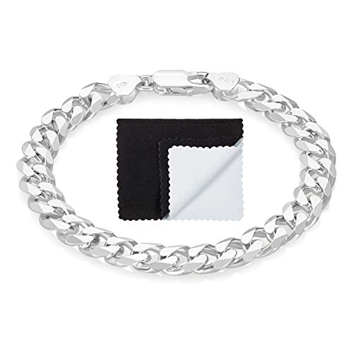 7.9mm .925 Sterling Silver Nickel Free Curb Chain Bracelet w/Lobster Clasp, 7 inches
