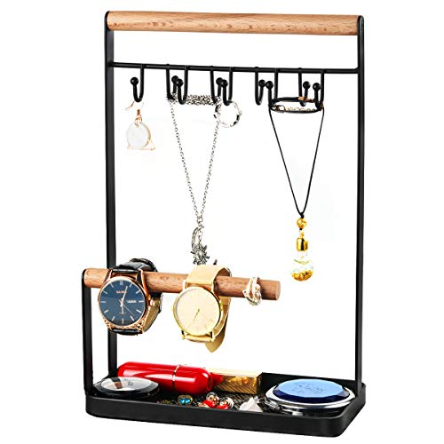 Portin Metal Jewelry Organizer Display Stand Holder with Tray and Hooks for Necklace, Bracelets, Rings, Watches Desk Jewelry Stand Organizer, Black