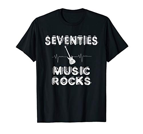 Seventies Music Rocks T-Shirt 70's Guitar Heartbeat Gift Tee