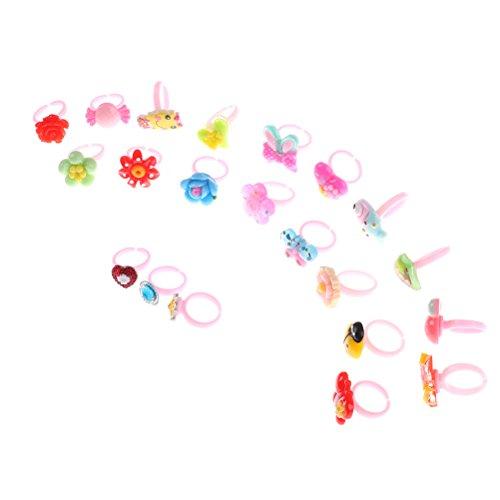 10 Pcs Cute Adjustable Mixed Kids Pink Animal Flower Resin Cartoon Finger...