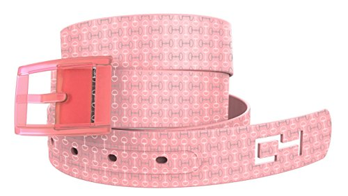 C4 Equestrian Hypoallergenic Belt: Pink Bits n Pieces Strap with Pink Buckle - Equestrian Horseback Riding Belt for Women (Pink Leather Belt Strap)