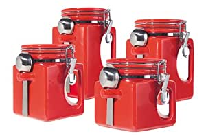 Oggi EZ Grip Handle 4-Piece Ceramic Airtight Canister Set, Red