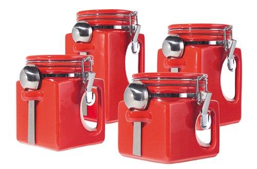 Etonnant Amazon.com: Oggi EZ Grip Handle 4 Piece Ceramic Airtight Canister Set, Red:  Kitchen Storage And Organization Product Sets: Kitchen U0026 Dining