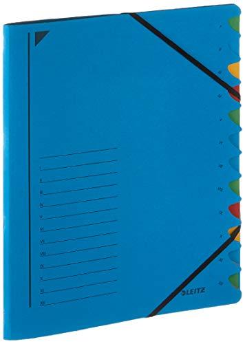 LEITZ 39120335 - Clasificador de cartón con gomas y 12 separadores color azul