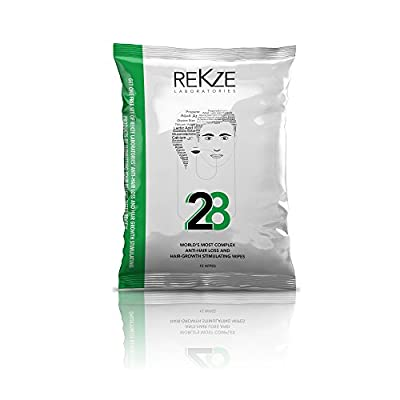 REKZE 28 Anti-Hair Loss Wipes Designed To Clean & Create Optimal Conditions For Hair Growth Stimulating, For Both Men & Women With Fine & Thinning Hair