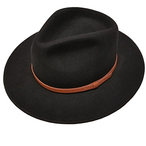 (Men's 100% Crush-able Wool Felt Outback Leather Band Wide Brim Safari Fedora Hats With Gift Box (L/XL, Black))