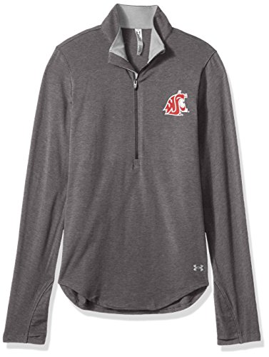 (Under Armour NCAA Washington State Cougars Women's Cotton Lightweight 1/4 Zip Tee, Small, Carbon Heather)