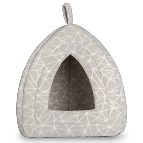 Hollypet 12 ×12 × 17 inches Self-warming Comfortable Triangle Cat Bed Tent House, Gray Line