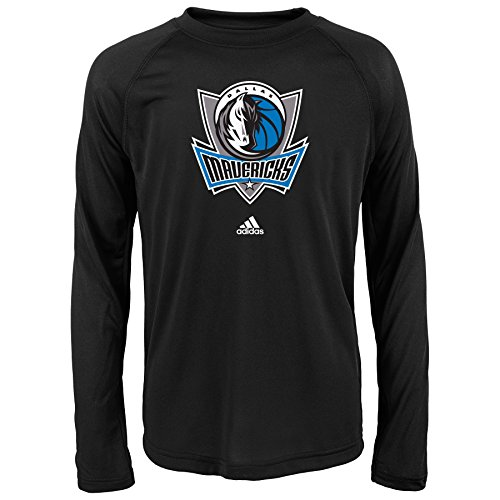 Adidas Dallas Mavericks T-shirt (NBA Dallas Mavericks Boys Youth Full Primary Logo Performance Long Sleeve Tee, Large (14-16), Black)
