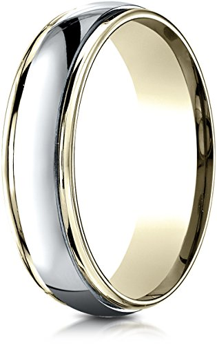 Benchmark 14K Two-Toned Gold 6mm Comfort-Fit High Polished Carved Design Wedding Band Ring, Size 7.5 (Tone Tiffany Two Ring)