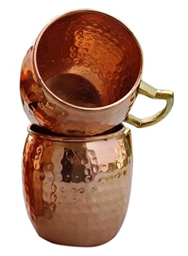 Rastogi Handicrafts Hammered Copper Moscow Mule Mug Handmade of 100% Pure Copper, Brass Handle Hammered Moscow Mule Mug/Cup. (2)