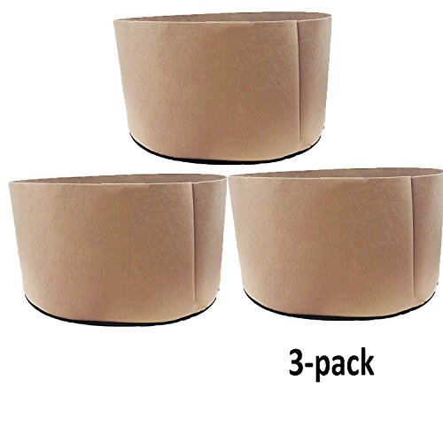 TopoGrow 3-Pack 65 Gallon Grow Bags Tan Fabric Round Aeration Pots Container for Nursery Garden and Planting Grow (65 Gallon, Tan(3-Pack)) by TopoGrow