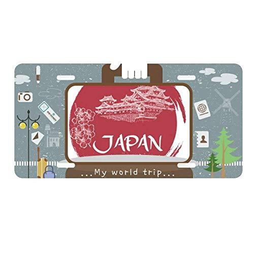 DIYthinker Japan National Flag Red Temple License Plate Car Decoration Tin Sign Travel (National Japan Stainless)