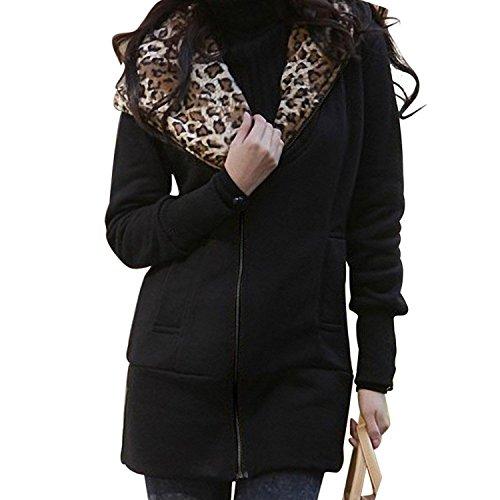 e271bed97e Minetom Mujer Otoño Invierno Capucha Chaqueta Leopardo Encapuchado Largo Abrigos  Camisa De Jersey 80% de