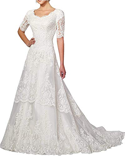- Wedding Dress Lace Bride Dresses with Sleeves Wedding Gown A line Bridal Gown with Train Ivory