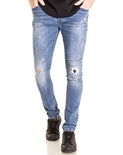 Slim Blz Destroy Coupe Clair Bleu Jeans Troué Jean Homme O8O7Hq