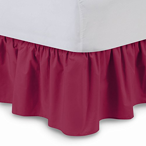 Ruffled Bedskirt (Queen, Raspberry) 18 Inch Bed Skirt with Platform, Wrinkle and Fade Resistant - by Harmony Lane (Available in All Bed Sizes and 16 Colors)