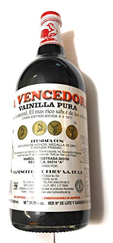 La Vencedora Pure Mexican Vanilla Extract 31oz - 1L For 1 Glass Bottle Product From Mexico