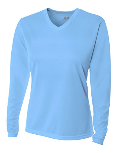 A4 Women's Birdseye Mesh Crew Long Sleeve Tee, Light Blue, (Bird Womens Light T-shirt)