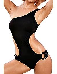 29c4d8e54a5c Agatha Garcia Women s One-Shoulder Black Cutout One-Piece Swimsuit