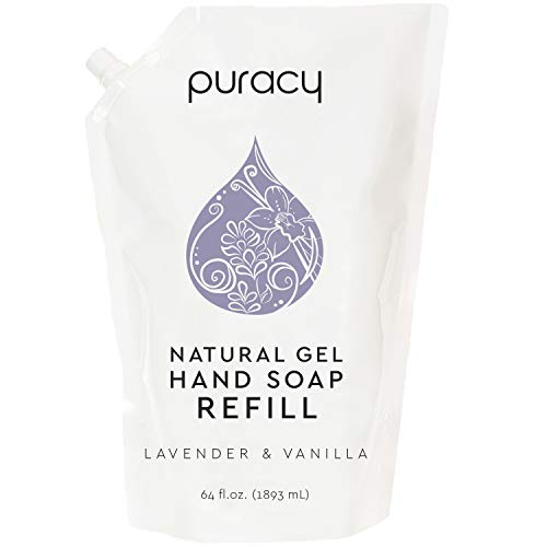 Puracy Natural Gel Hand Soap Refill, Lavender & Vanilla, Sulfate-Free Liquid Hand Wash, 64 Ounce