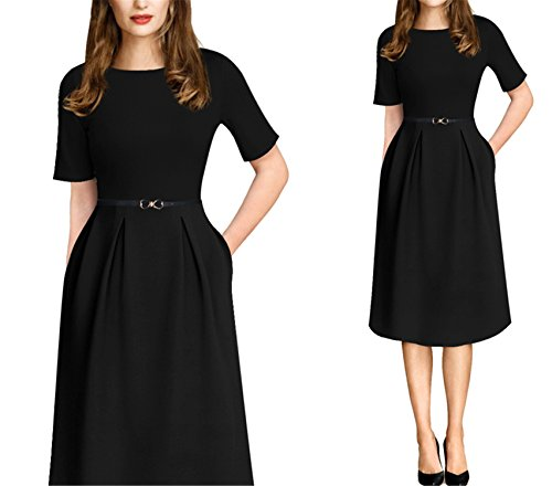 Ivan Johns Dresses Summer Print Belted Tunic Pinup Patchwork Work Office Casual Party A Line Skater Dress 2127 Black S ()