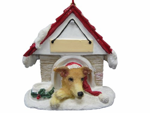 "Greyhound, Fawn Ornament A Great Gift For Greyhound, Fawn Owners Hand Painted and Easily Personalized ""Doghouse Ornament"" With Magnetic Back"