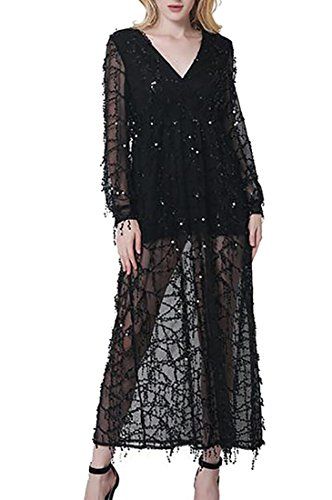 Sequin Black Long Dress Cruiize Tassel neck Casual Slit Sleeve Maxi Womens V rqqHPUY7