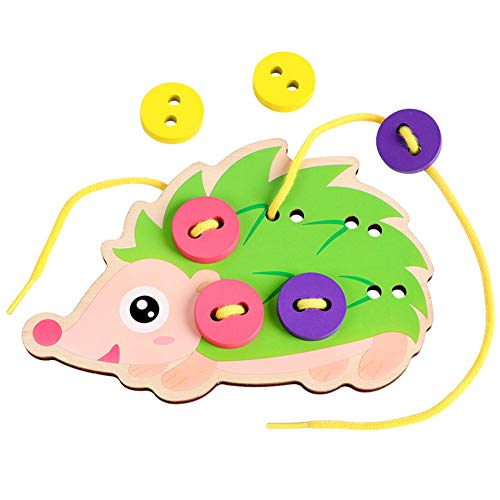 Educational Learning Toys for Kids Gift & Children Cartoon Hedgedog Dress Manual Threading Sewing Buttons Board Games Toys
