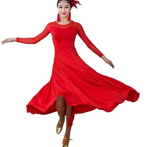 - YC WELL Women Modern Waltz Tango Smooth Ballroom Dance Dress Standard Ballroom Dress(red,M)