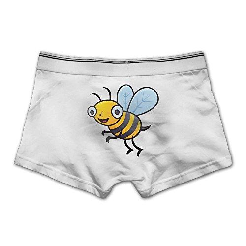 Ngyeyu Bumblebee Cartoon Men's Underwear Cotton Vintage Boxer Briefs L White