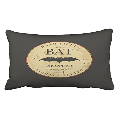Accrocn Bat Droppings Vintage Halloween Label Throw Pillow Covers Cushion Cover Case 20X36 Inches Pillowcases One (Halloween Dropping Bat With Wings)