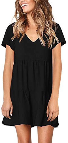 Pleated Shift Dress - Allcute Women's Ruffle Tunic Short Sleeve Pleated Swing V Neck Casual Loose Shift Dress Black