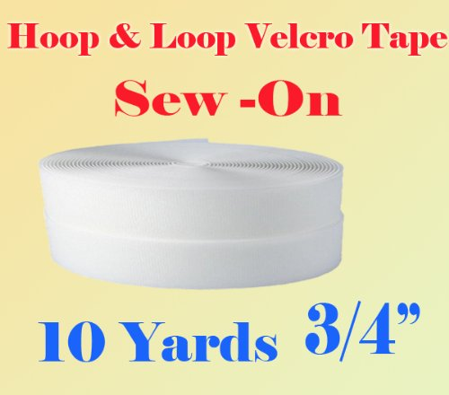3/4'' (0.75 Inches) Width Black or White Sew on Hook & Loop - Premium Grade Non-adhesive Sew-on Style Sold Includes Hook and Loop Both Side Interlocking Tape Sold By 5, 10, 27 Yards (White - 10 yards) by Display Sign Mart