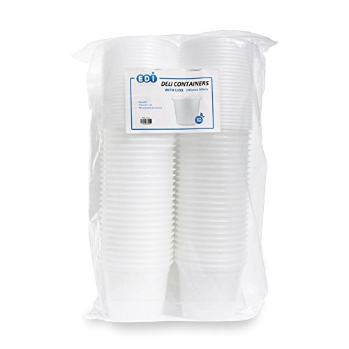 EDI Plastic Food Storage Plastic Containers with Lids Set, Pack of 50 Deli Containers (50, 24 oz)