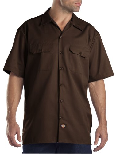 Dickies Men's Big-Tall Short-Sleeve Work Shirt,Dark Brown,4X