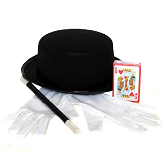 Magician Costume Accessory Set - Hat, Gloves, Wand