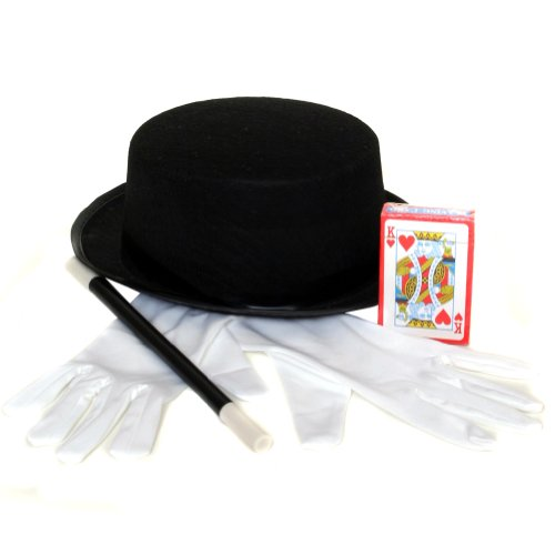 Magician Costume Accessory Set - Hat, Gloves, (Magician Costume Adult)