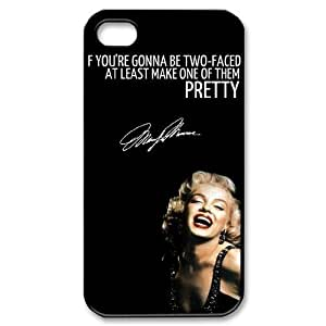 Custom Cover Case with Hard Shell Protection for Iphone 4,4S case with Marilyn Monroe Quote lxa#902533