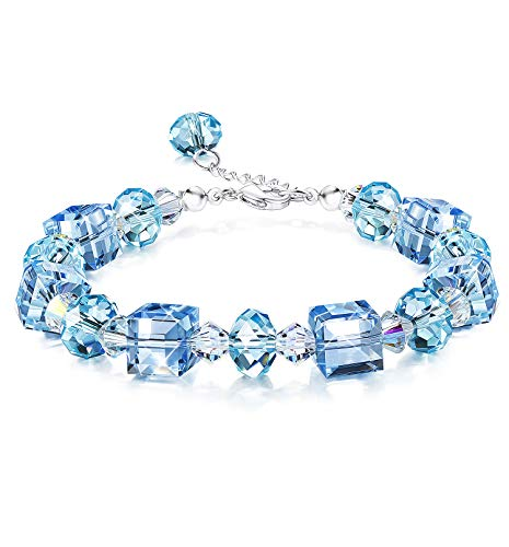 """KesaPlan Crystals Bracelets, Crystals from Swarovski, """"Flowing Water"""" Blue Crystals Bracelets for Women Girls Cute Bracelets, Jewelry Gift for Christmas Day, 7""""+2"""""""