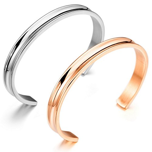 MOWOM 2PCS Silver Rose Gold Two Tone Stainless Steel Bracelet Bangle (2 Tone Gold Link)